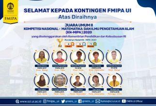 Kontingen FMIPA UI Sumbang 8 Medali Kompetisi Nasional MIPA 2020