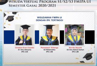 Inilah Deretan Nama-Nama Lulusan Terbaik Semester Gasal Tahun Akademik 2020-2021 FMIPA UI