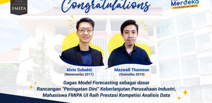"""Gagas Model Forecasting sebagai dasar Rancangan """"Peringatan Dini"""" Keberlanjutan Perusahaan Industri, Mahasiswa FMIPA UI Raih Prestasi Kompetisi Analisis Data"""